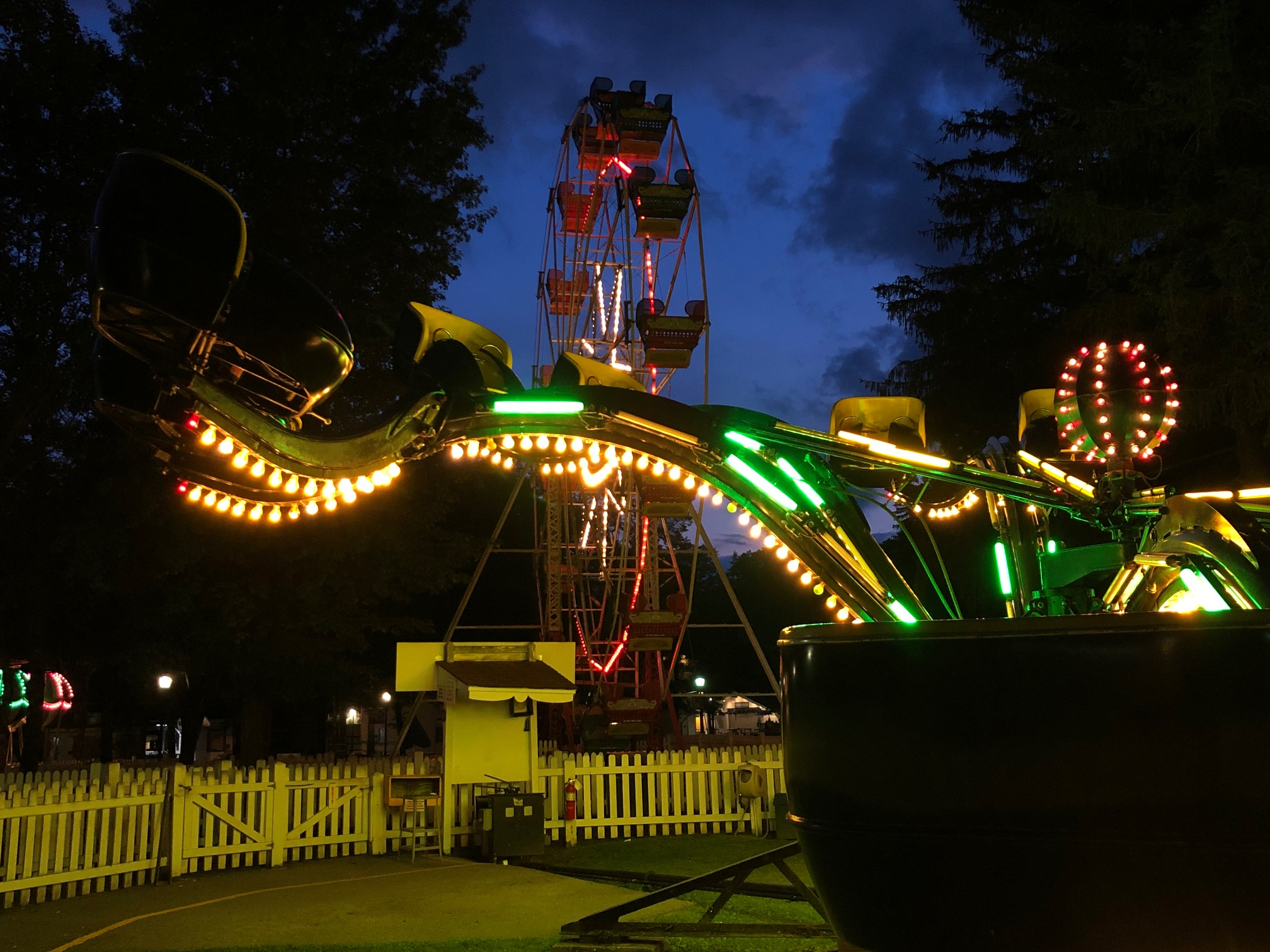 Photo of Spider and Ferris Wheel at Night
