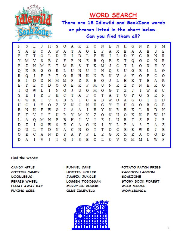 Image of Word Search 1 Activity Sheet