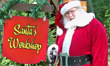 Santa by his workshop
