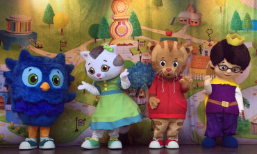 Daniel Tiger's Neighborhood characters on the Hillside Theater stage