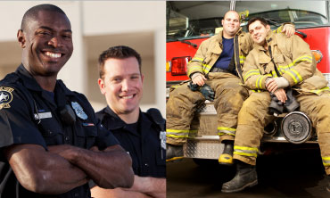 Photo collage of first responders smiling for photos