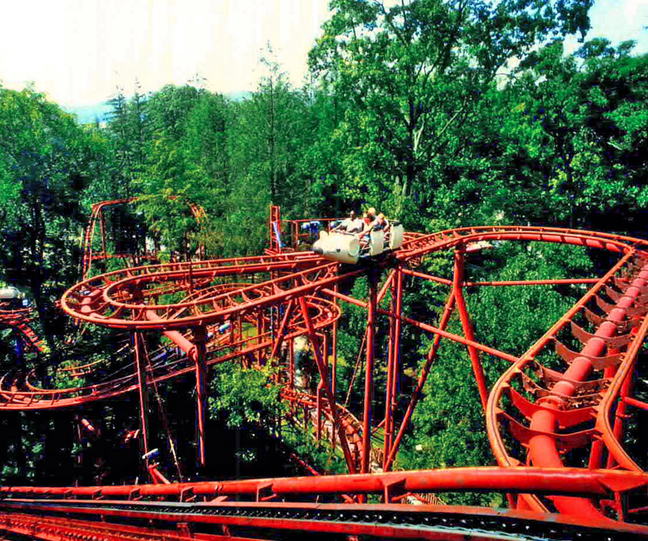 Historical photo of Idlewild rollercoaster circa 1990