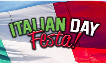 Graphic of the flag of Italy with the Italian Day Festa Logo